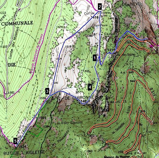 De rotsen van de Aiglette, Die (wandeling en gieren)