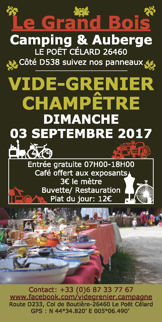 Vide-grenier, brocante op Camping le Grand Bois, Poët-Celard