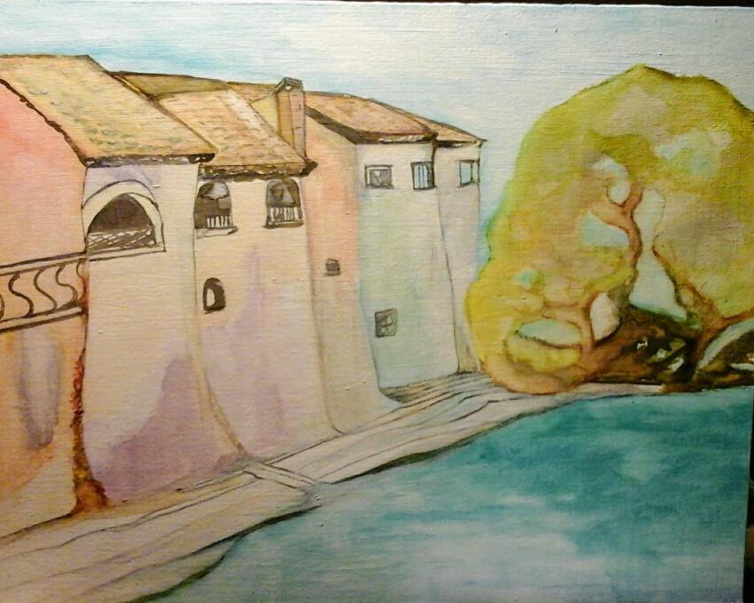 Aquarel van huizen boven de rivier de Drôme